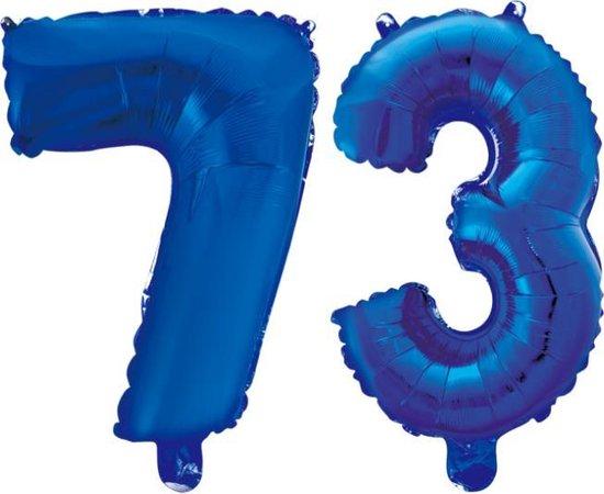 Folieballon 73 jaar blauw 86cm