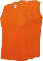 3-Pack Maat S - Sport singlets/hemden oranje voor heren - Hardloopshirts/sportshirts - Sporten/hardlopen/fitness/bodybuilding - Sportkleding top oranje voor mannen