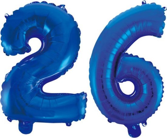 Folieballon 26 jaar blauw 86cm