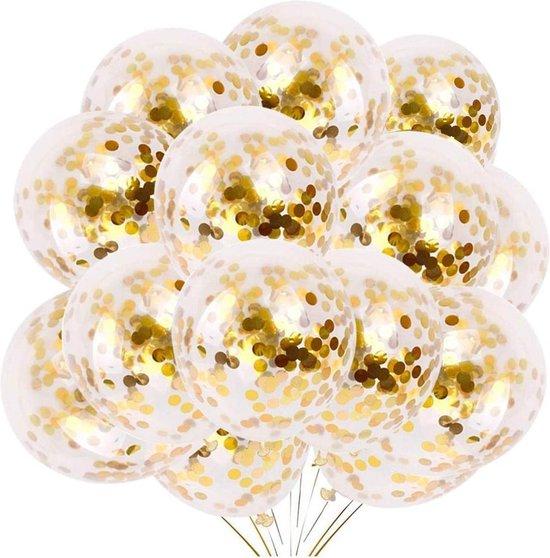 Confetti Ballonnen 18 Stuks + 10m Krullend Lint - Gouden Decoratie – Helium – Latex - Baby Shower Bruiloft Verjaardag