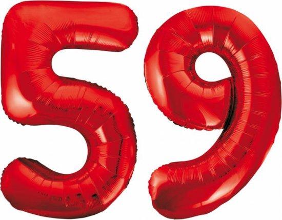 Folieballon 59 jaar rood 86cm