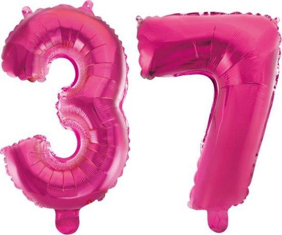 Folieballon 37 jaar roze 41cm
