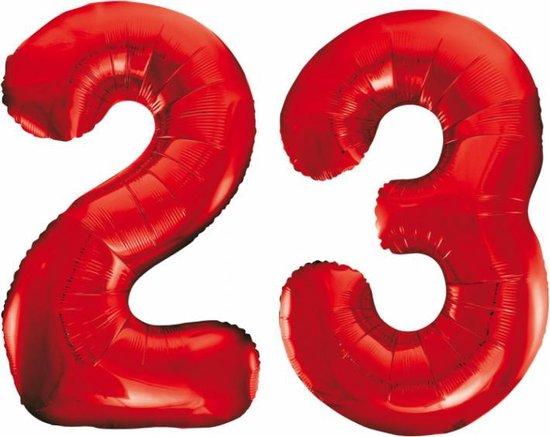 Folieballon 23 jaar rood 86cm