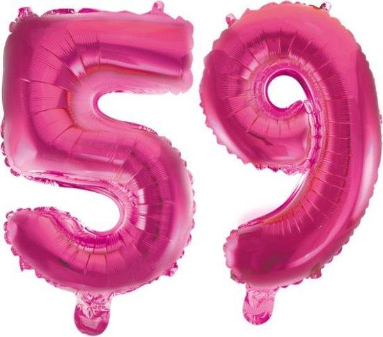 Folieballon 59 jaar roze 41cm