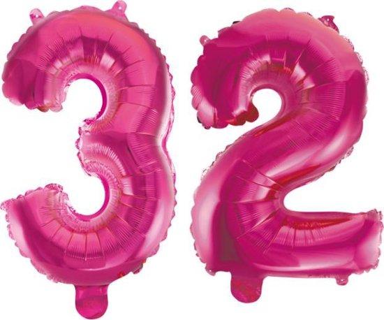 Folieballon 32 jaar roze 41cm