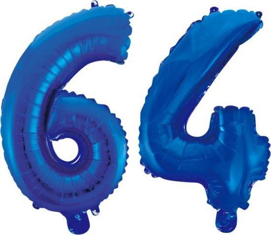 Folieballon 64 jaar blauw 86cm
