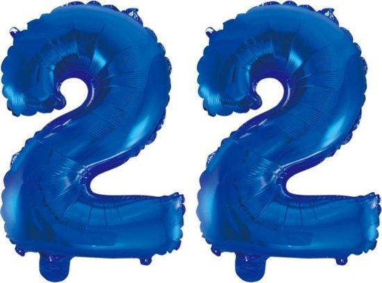 Folieballon 22 jaar blauw 86cm