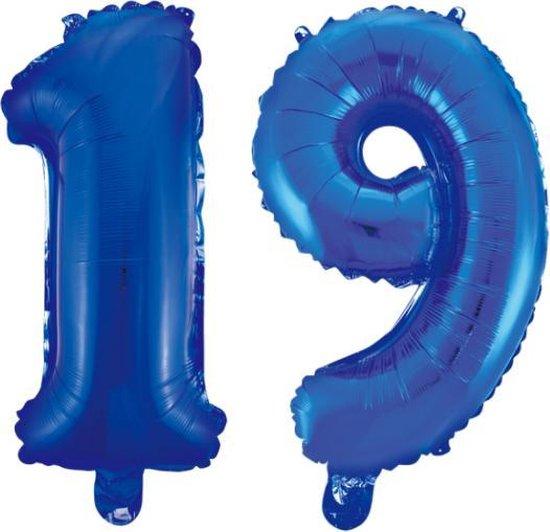 Folieballon 19 jaar blauw 86cm