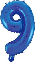 Folieballon 9 jaar blauw 86cm