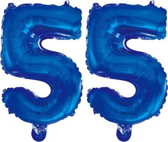 Folieballon 55 jaar blauw 86cm
