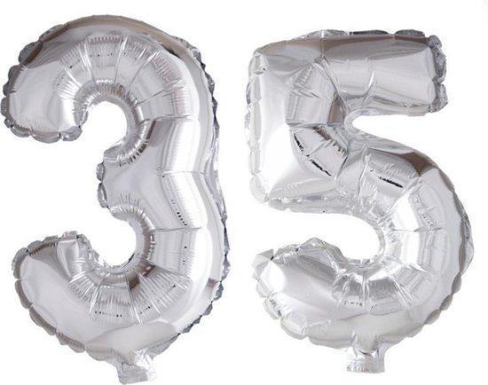Folieballon 35 jaar zilver 41cm