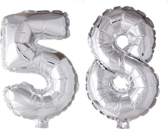 Folieballon 58 jaar zilver 41cm