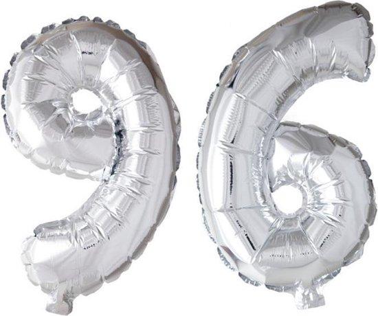 Folieballon 96 jaar zilver 41cm