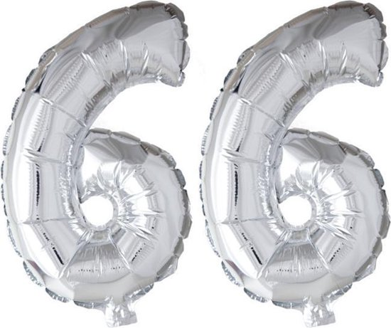 Folieballon 66 jaar zilver 41cm