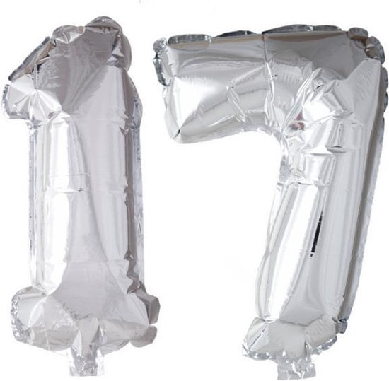 Folieballon 17 jaar zilver 41cm