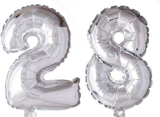 Folieballon 28 jaar zilver 41cm