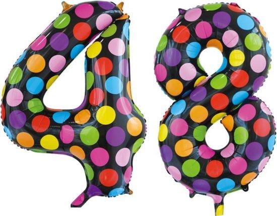 Folieballon 48 jaar stippen 86cm