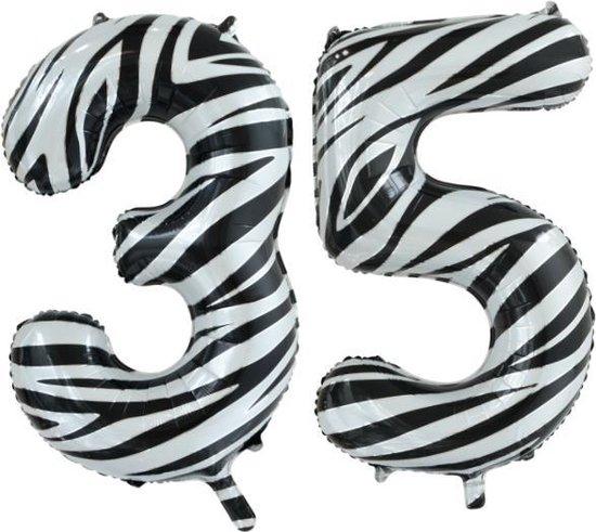 Folieballon 35 jaar zebra 86cm