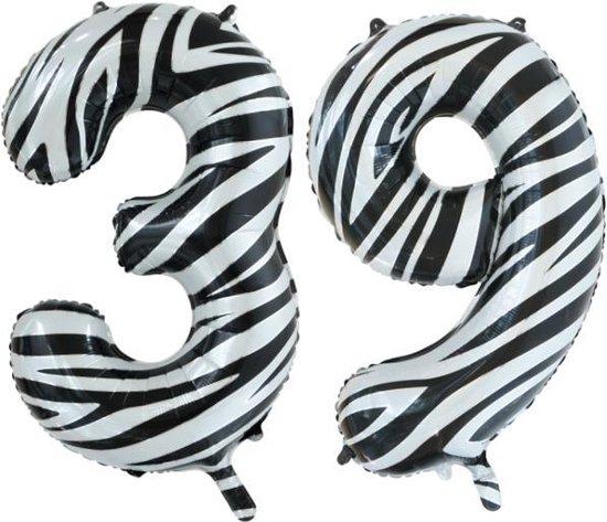 Folieballon 39 jaar zebra 86cm