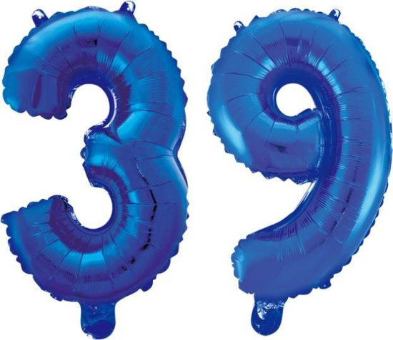Folieballon 39 jaar blauw 41cm
