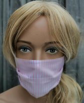 Katoenen mondkapjes WIT MET ROZE GESTREEPT 60C wasbaar door neusbeugel ook zeer geschikt voor brildragers