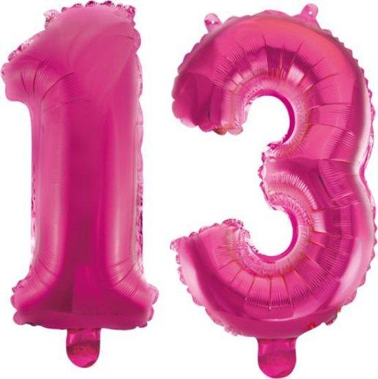 Folieballon 13 jaar roze 86cm