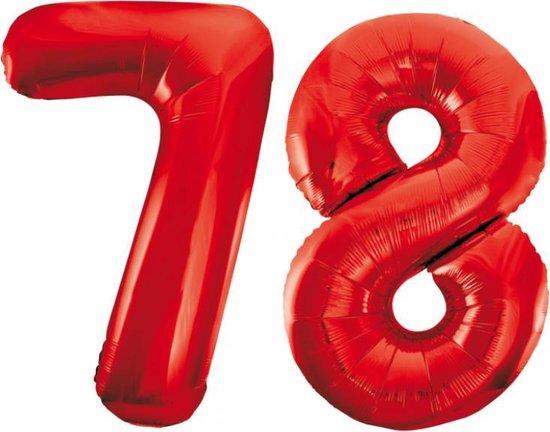Folieballon 78 jaar rood 86cm