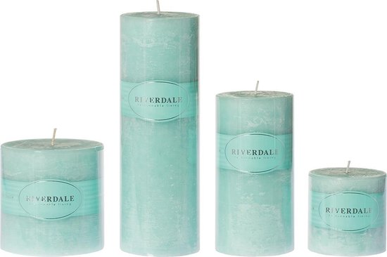 Riverdale –  Geurkaars Pillar celadon 7.5x23cm Celadon Paraffine