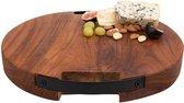 Pure Teak Wood Borrelplank rond 2 metalen handvatten 35cm - Cadeau tip!