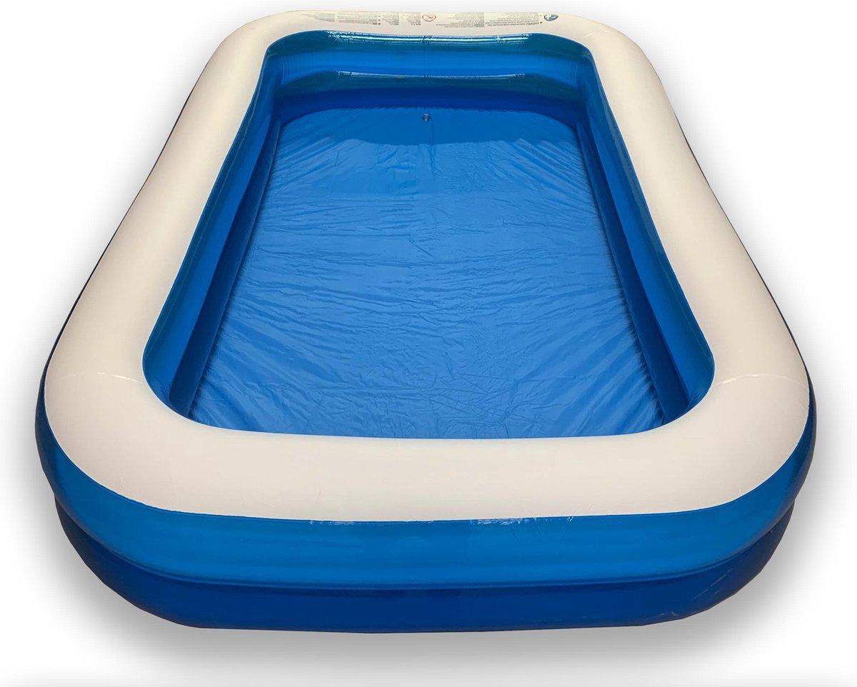 Opblaasbaar Zwembad Rechthoekig Blauw - 250x165x42cm - Kinderbad - Familie bad - Zwemparadijs