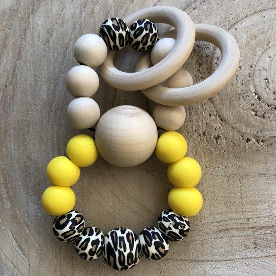 BabyenzoKado rammelaar bijtring geel luipaardprint