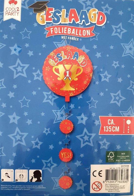 folieballon met hanger geslaagd 135 cm