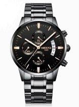 NIBOSI Horloges voor mannen - Luxe Zwart op Zwart  Design – Bronzen Wijzers - Ø 42 mm - Geschenkset