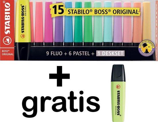 Markeerstiften STABILO BOSS ORIGINAL deskset 15 kleuren + 1 GRATIS