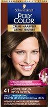 Schwarzkopf Poly Color Crème Haarverf 41 Middenbruin - 1 stuk - intensieve, natuurlijke kleuren met 100% grijsdekking