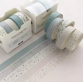 Washi Tape Set | Bullet Journal/Scrapbook/Planner/Pastel | Blauw/Wit