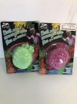Set van twee kalkwerpballen paars & groen