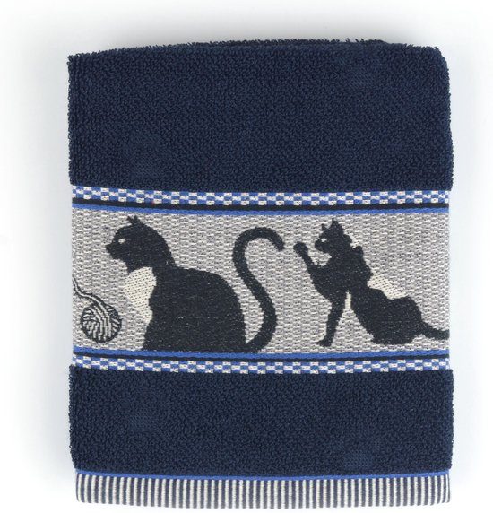 Keukendoek Bunzlau Castle Cats 53x60cm, blauw - 6 pack