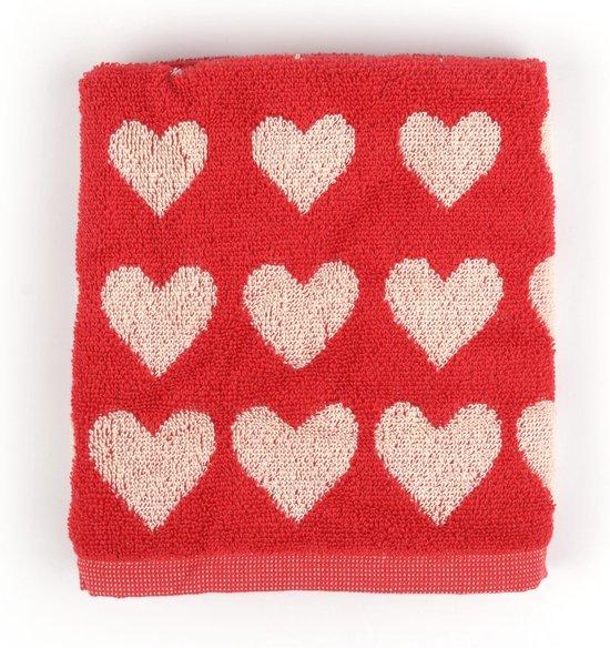 Keukendoek Bunzlau Castle Hearts 53x60cm, rood - 6 pack