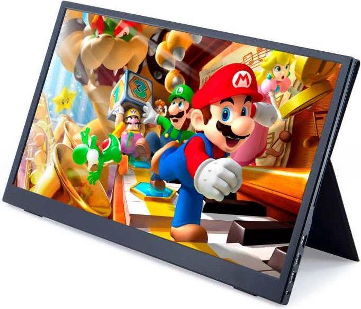 Lipa AX-50 portable monitor Full HD 15.6 / HDMI / 2x USB C / Met hoes en kickstand / Ook voor Nintendo Switch, Xbox en Playstation / Makkelijk mee te nemen