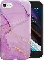 IYUPP iPhone 7 / 8 / SE 2020 Hoesje Marmerprint Paars Marmer Cover
