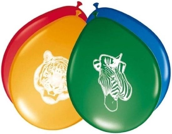 32x stuks Safari/jungle dieren themafeest ballonnen 27 cm - Kinderverjaardag feestartikelen