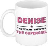 Naam cadeau Denise - The woman, The myth the supergirl koffie mok / beker 300 ml - naam/namen mokken - Cadeau voor o.a  verjaardag/ moederdag/ pensioen/ geslaagd/ bedankt