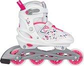 Nijdam Inline Skates Verstelbaar - White Wedge - Wit/Zilvergrijs/Fuchsia/Marine - 37-40