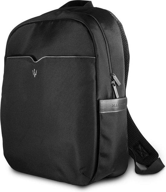 Maserati Slim Backpack BlackSilver Rugzak Laptoptas