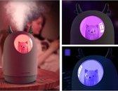 nacht lampje – aircooler met water met usb – ventilator stil – kinderkamer decoratie jongens en meisje's –  kinderkamer decoratie baby – beer -panda -  neon led licht - kinderspeelgoed - wit .