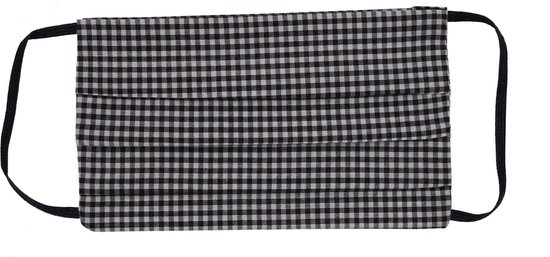 Mondkapje   Mondmasker Katoen - Wasbaar – Zwart / Wit ruitjes + Filter