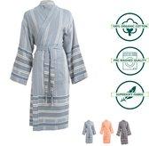 ANATURES Badjas BORA XXL | Unisex hamam badjas, dames en heren ochtendjas, sauna kimono| FairTrade - Biologische katoen | DENIM BLAUW