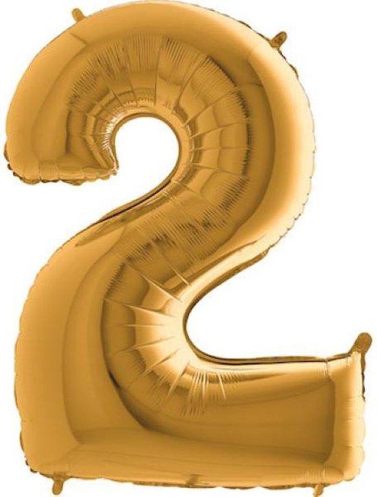 Grabo balloons - Folieballon - cijfer 2 - goud - 66cm