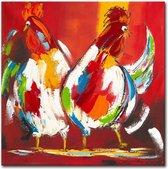 Schilderij - Vrolijke kippen